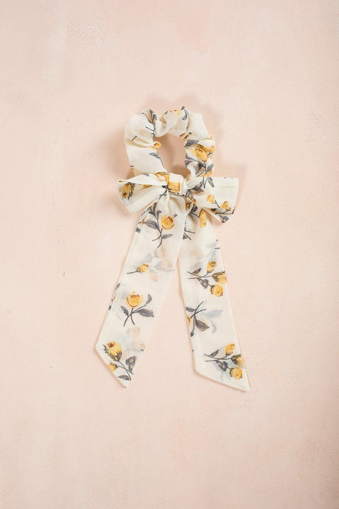 Marlow Yellow Floral Ribbon Scrunchie Hair Ana Yellow