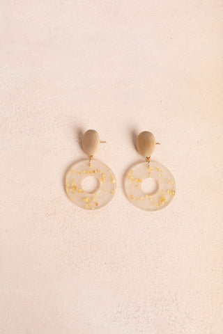 Delilah Gold Marble Patterned Dangle Earrings Earrings Fame
