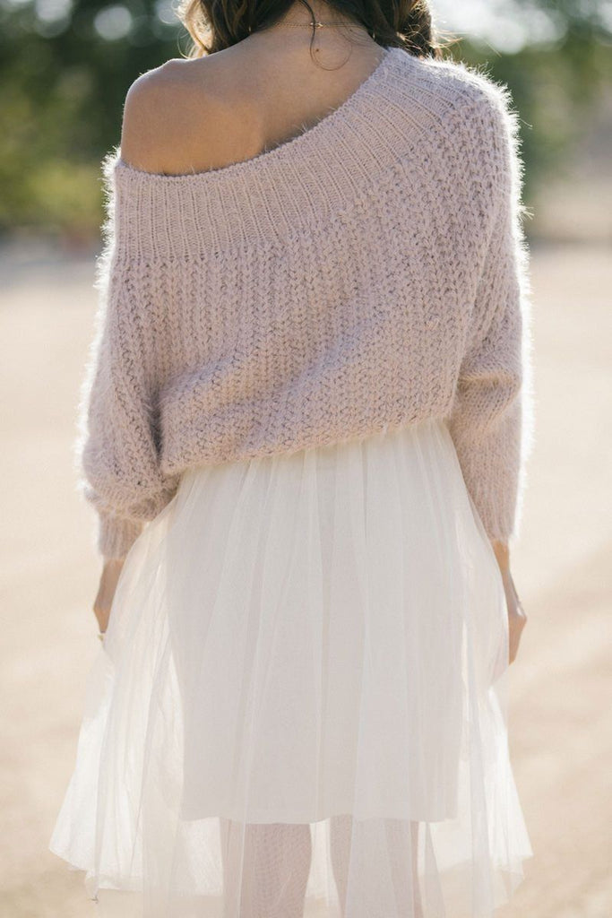 Demi Off the Shoulder Eyelash Knit Sweater Sweaters Dreamers