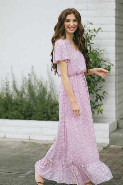 Giselle Floral Print Maxi Dress Dresses Everly Mauve Small