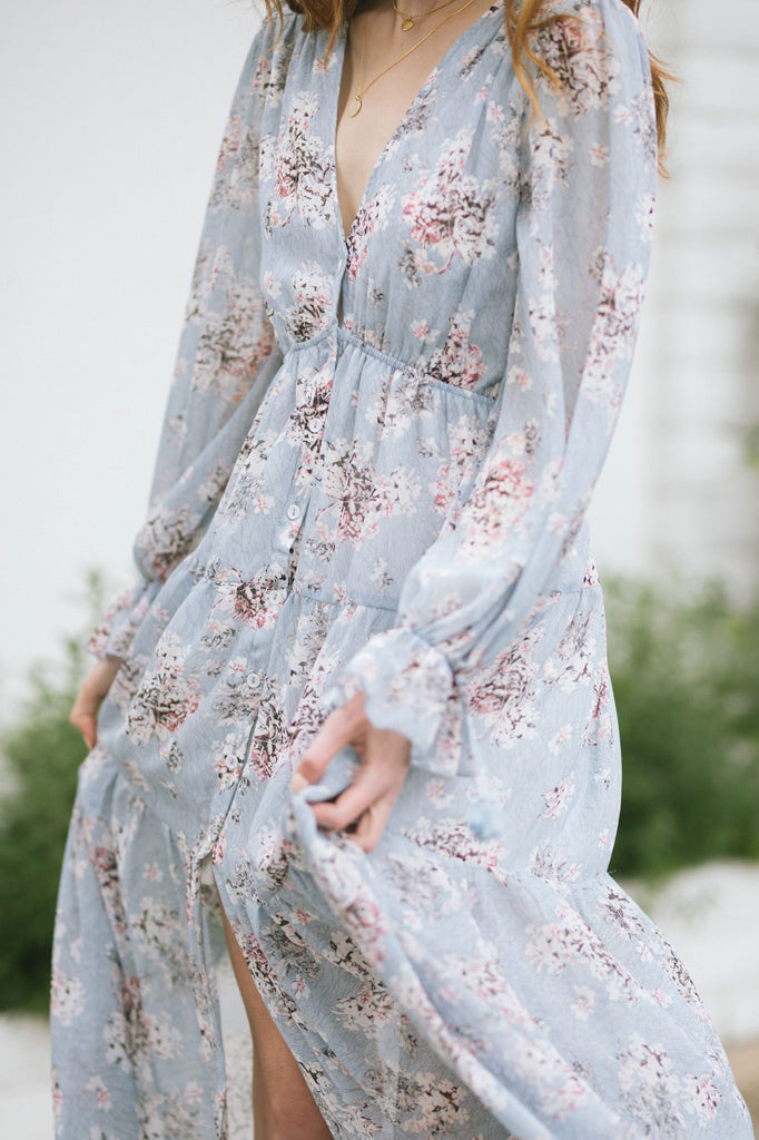 Margot Floral Long Sleeve Maxi Dress Dresses Aakaa