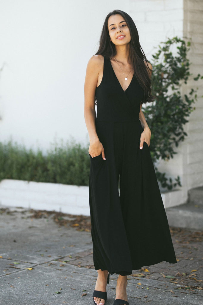 Remi Surplice Sleeveless Jumpsuit Jumpsuits Final Touch