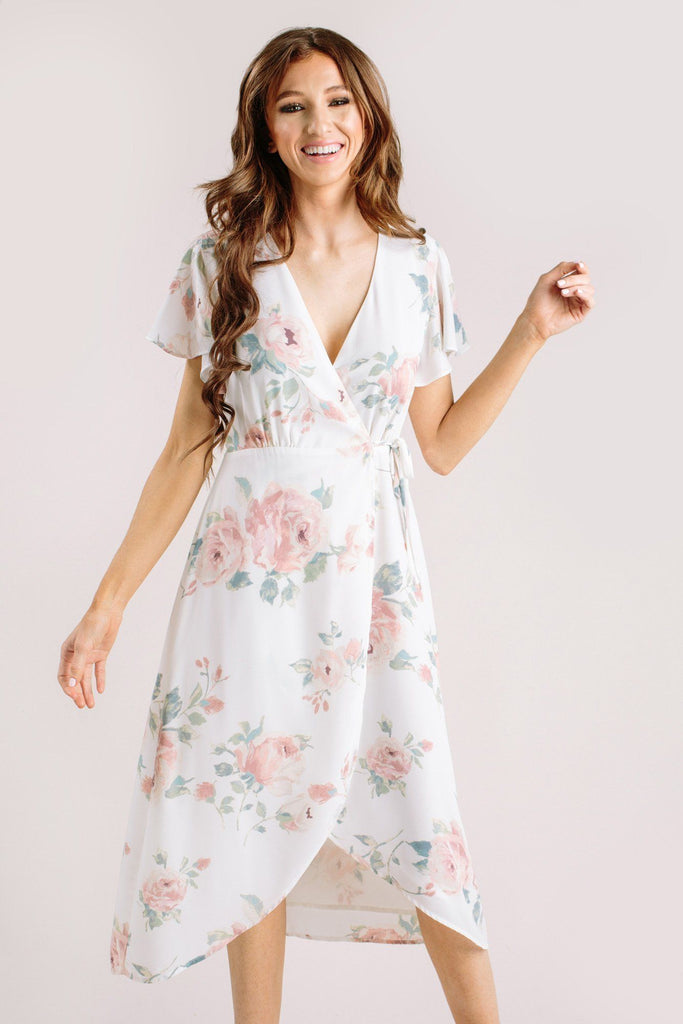 Kenley Floral Wrap Midi Dress Dresses Everly Ivory Medium