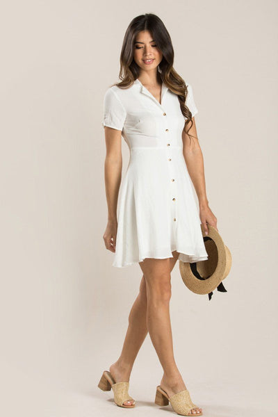 Maisie Collared Mini Dress Dresses Aakaa White Small