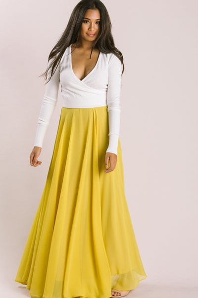 Petite Amelia Full Maxi Skirt TEST TEST TEST Skirts Lucy Paris Yellow XXSP