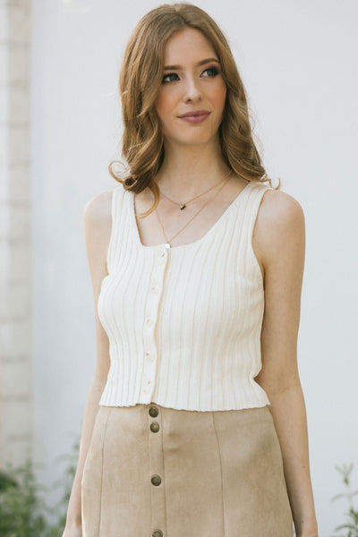Jenny Ribbed Knit Button Tank Tops Hem & Thread Cream Small