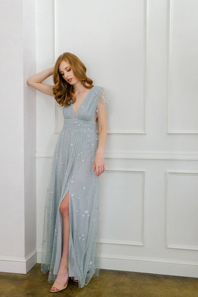 Wendy Tulle Ruffle Sleeve Maxi Dress Dresses Soieblu Dusty Blue Small
