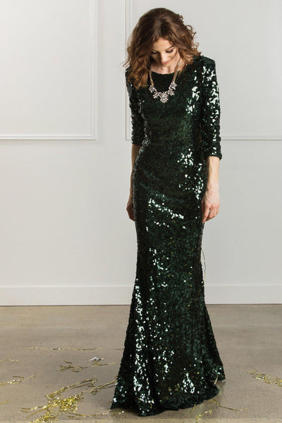 Valentina Low Back Sequin Gown Dresses Latiste Green XS