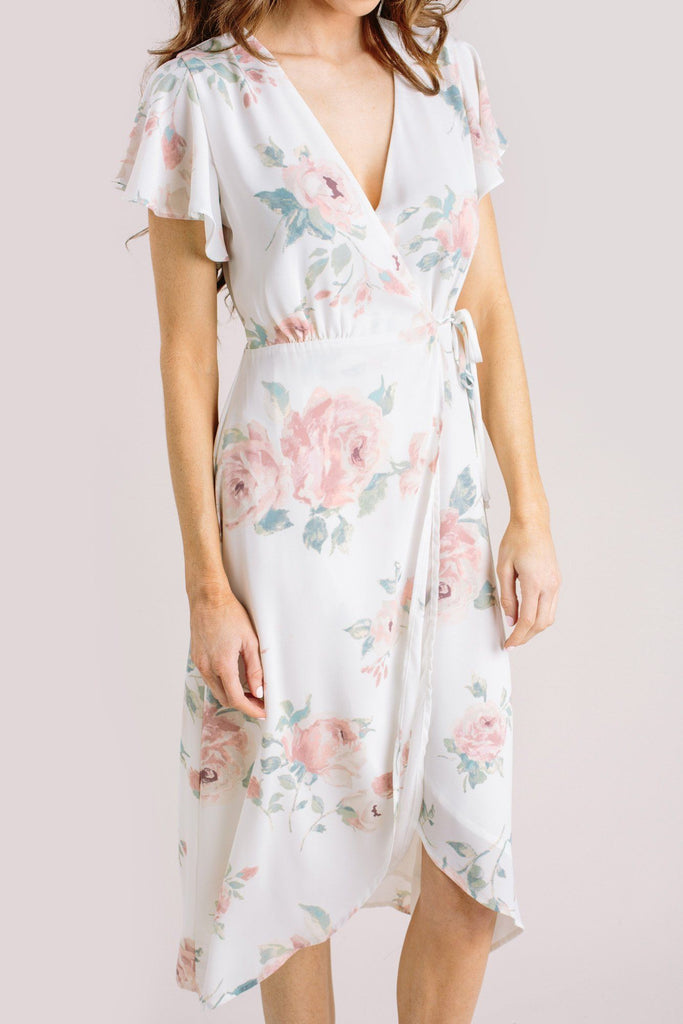 Kenley Floral Wrap Midi Dress Dresses Everly Ivory Large