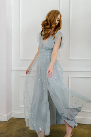 Wendy Tulle Ruffle Sleeve Maxi Dress Dresses Soieblu