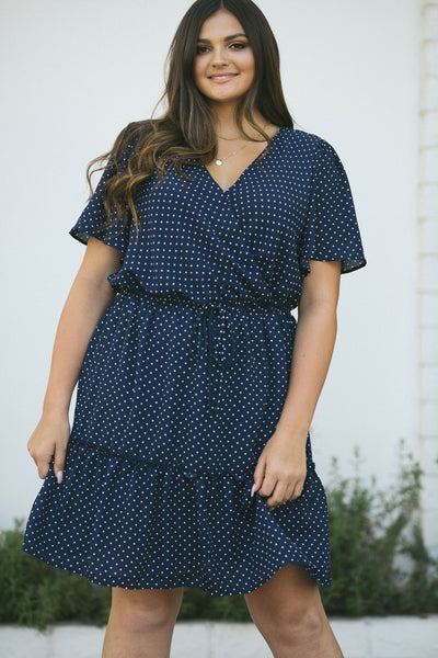 Curvy Mindy Fit and Flare Dress Dresses Andree by Unit Navy 1X