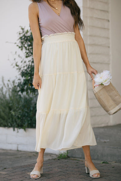 Fiona Tiered Maxi Skirt Skirts Wishlist Cream Small/Medium