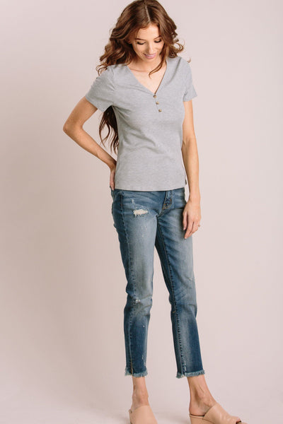 Janice Short Sleeve Ribbed Top Tops Everly Grey Small