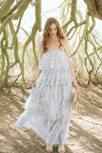 Jenn Strapless Tiered Maxi Dress Dresses Aakkaa Blue-White Small
