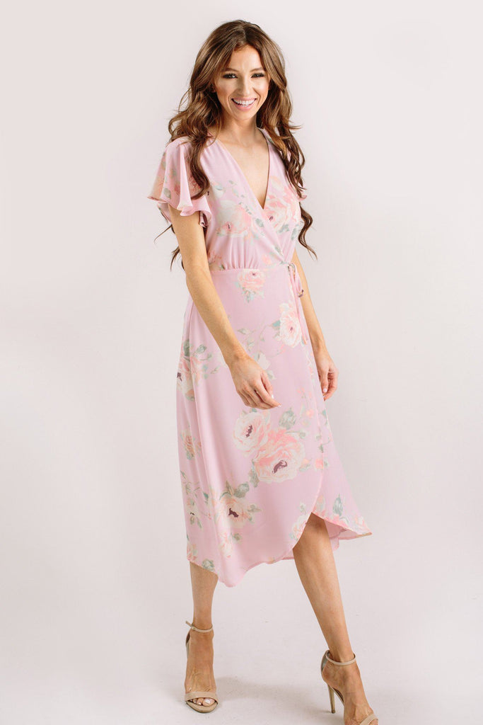 Kenley Floral Wrap Midi Dress Dresses Everly Blush XS