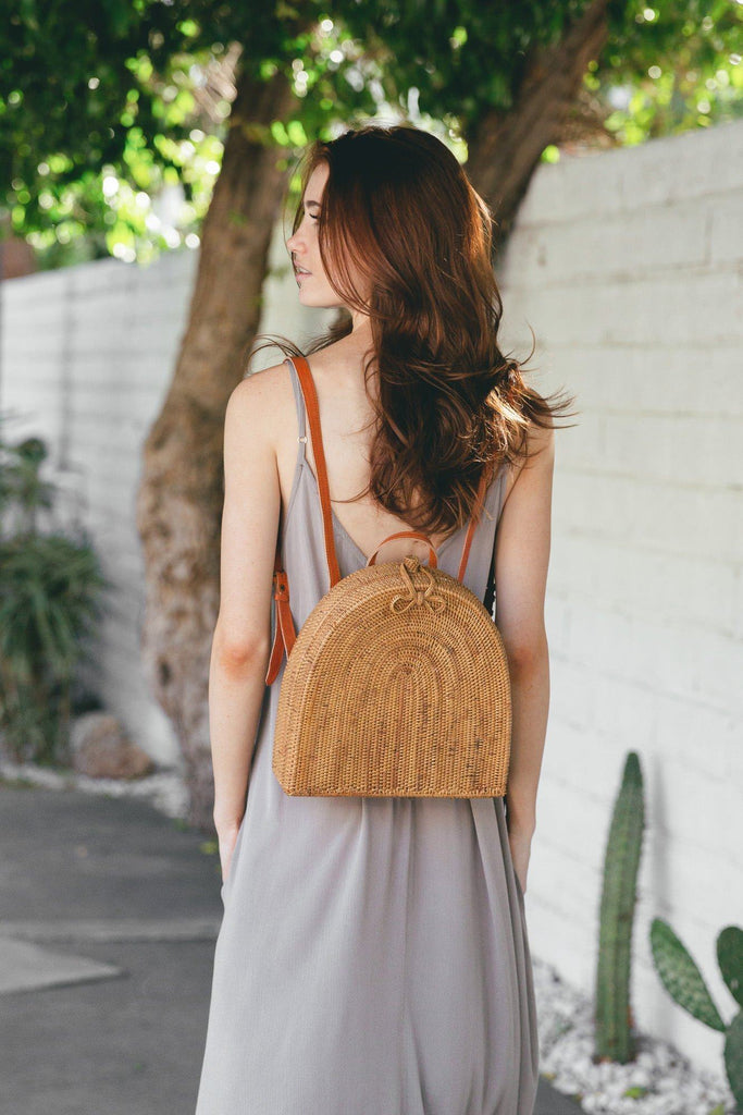 Genevieve Straw Rattan Backpack Handbags Joia Straw