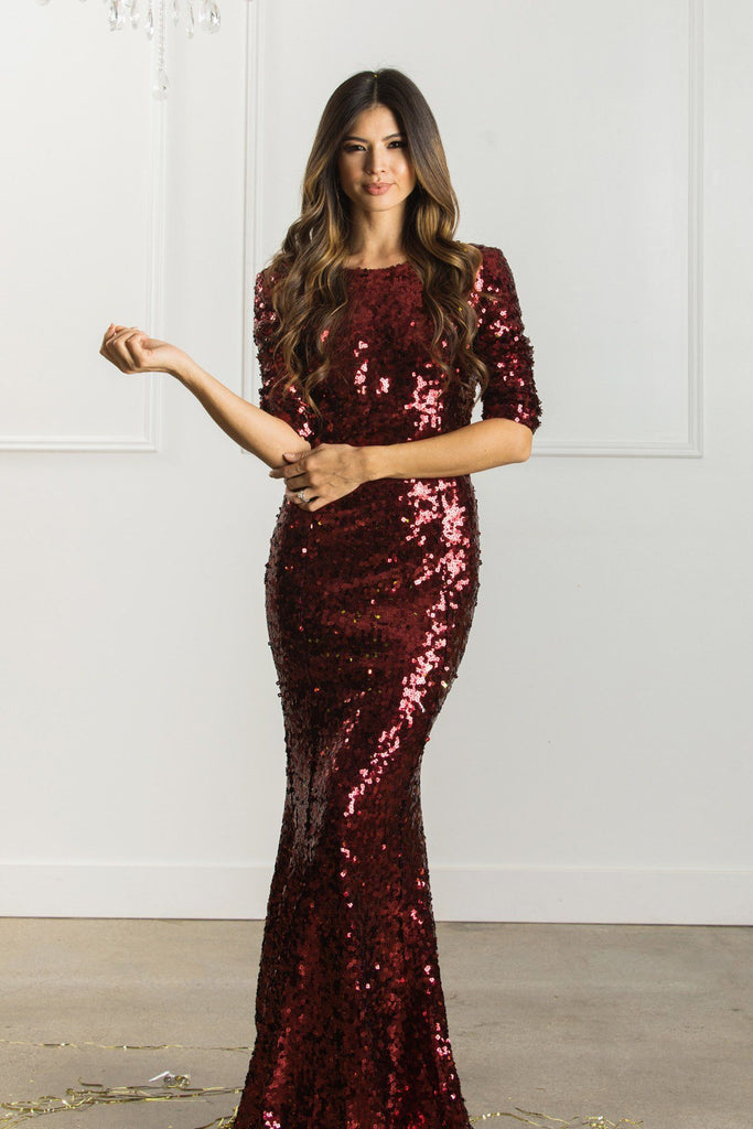 Valentina Low Back Sequin Gown Dresses Latiste Burgundy XS