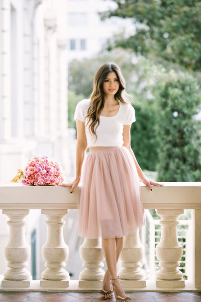 Eloise Tulle Midi Skirt Skirts Esley Dusty Rose X-Small