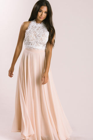 Leighton White Sleeveless Lace Top Tops Peach