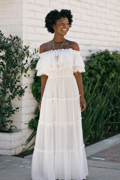 Jade Off the Shoulder Ruffled Maxi Dress Dresses ee:some Off White Small