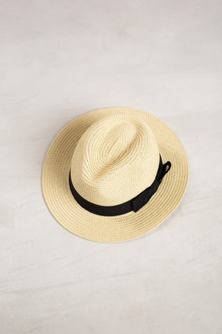 Tiffanie Black Bow Straw Fedora Hats JOIA