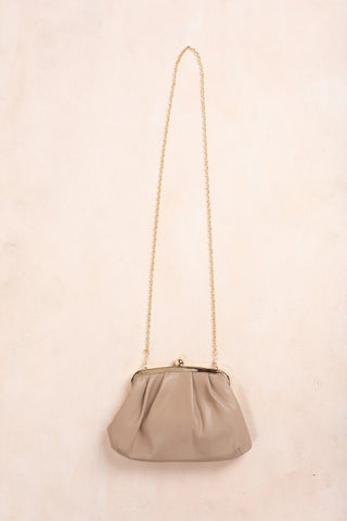 Beatrice Beige Faux Leather Clutch Handbags Fame