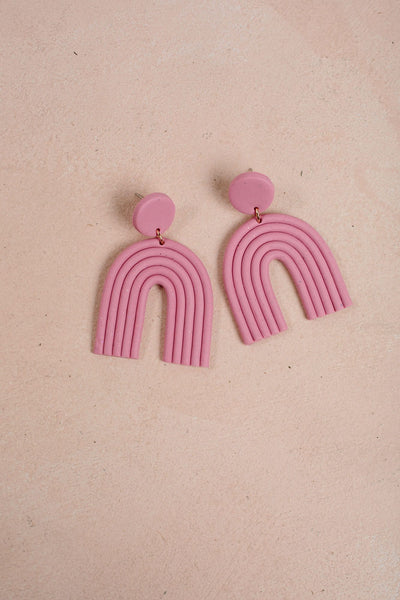 Radiant Handmade Clay Earrings Earrings &everlasting Pink