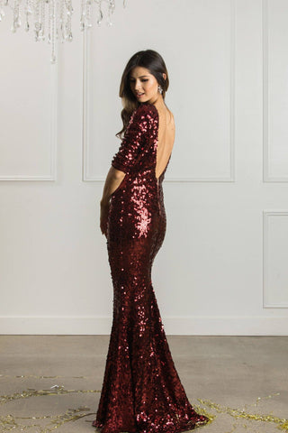 Valentina Low Back Sequin Gown Dresses Latiste