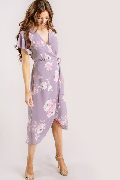 Kenley Floral Wrap Midi Dress Dresses Everly Lavender X-Small