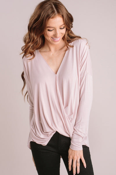 Kathy Long Sleeve Surplice Top Tops Double Zero Soft Pink Small