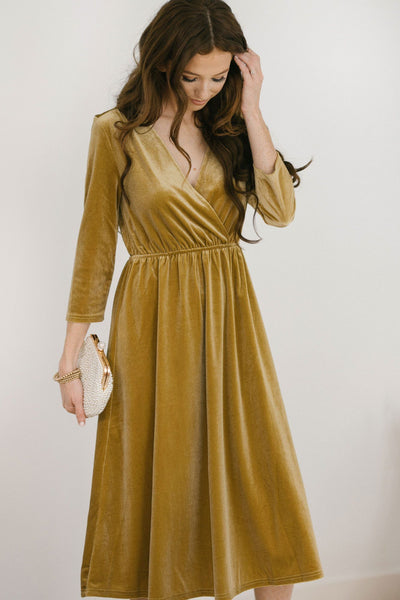 Lucy 3/4 Sleeve Velvet Midi Dress Dresses See and Be Seen Gold Small