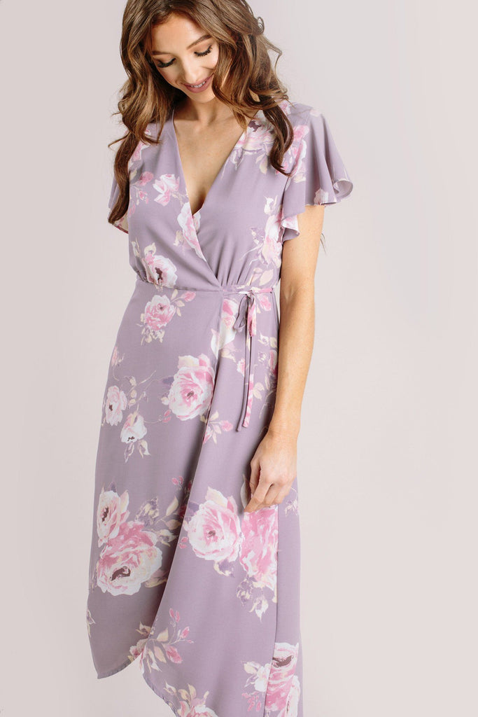 Kenley Floral Wrap Midi Dress Dresses Everly Lavender Small