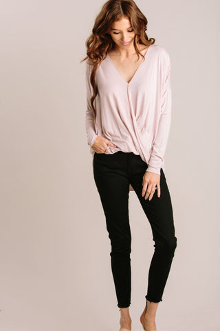 Kathy Long Sleeve Surplice Top Tops Double Zero