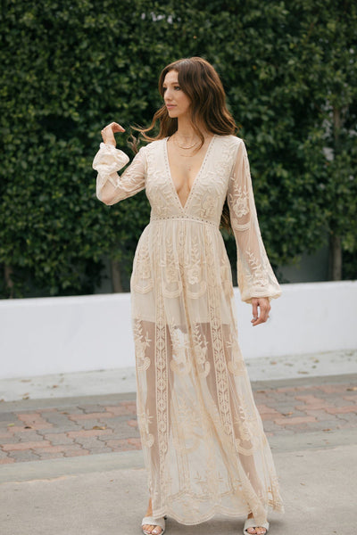 Emerie Long Sleeve Lace Jumpsuit Dresses Wishlist Natural Small