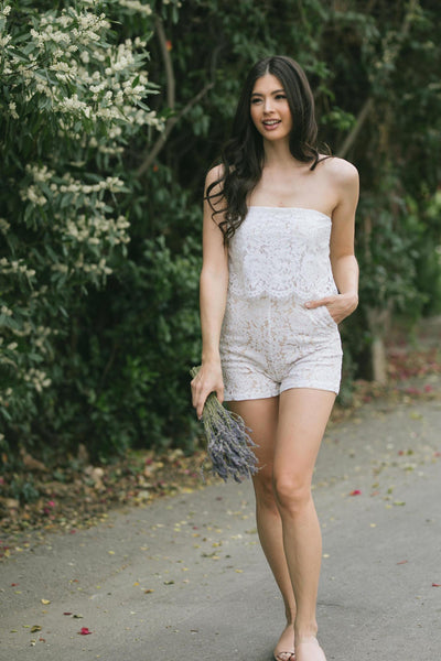 Kim Strapless Lace Romper Rompers Sugarlips White X-Small