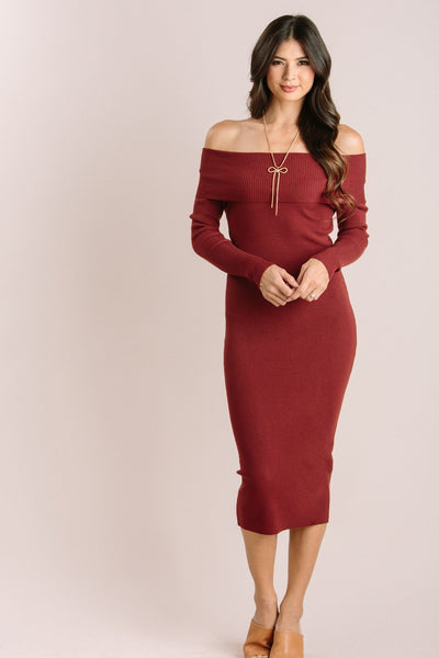 Irene Off the Shoulder Ribbed Knit Midi Dress Dresses Dreamers Amber Small/Medium