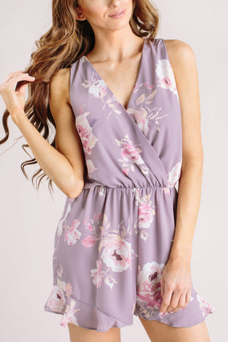 Blaire Lavender Floral Romper Rompers Everly Lavender Small