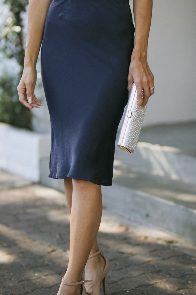 Willow Satin Midi Skirt Skirts Skies are Blue
