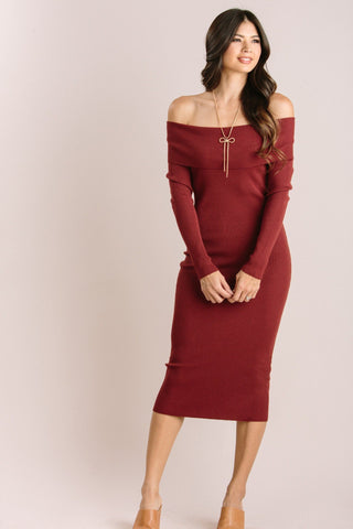 Irene Off the Shoulder Ribbed Knit Midi Dress Dresses Dreamers