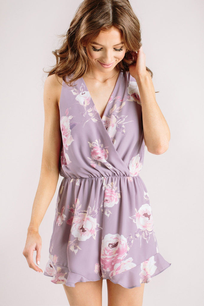Blaire Lavender Floral Romper Rompers Everly Lavender X-Small
