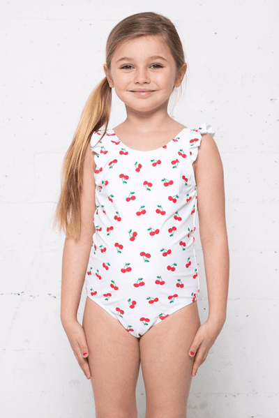 Kids Ruffle Cherry One Piece Swimsuit Swimwear Marina West Swim Cherry-White 2-3