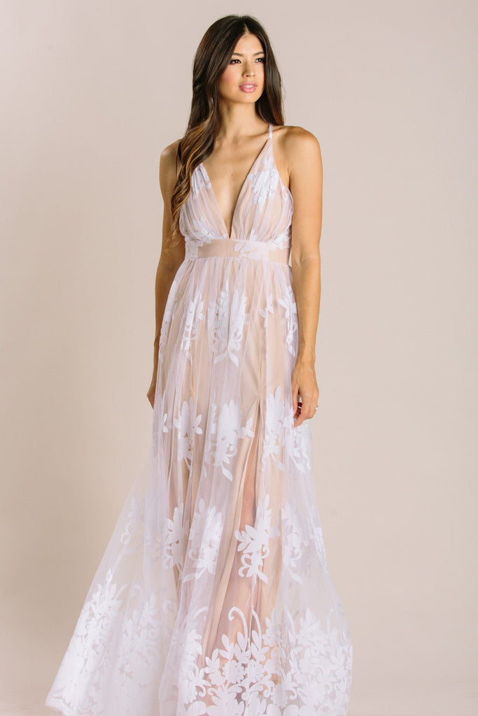 Angeline Velvet Lace Maxi Dress Dresses Luxxel White Small