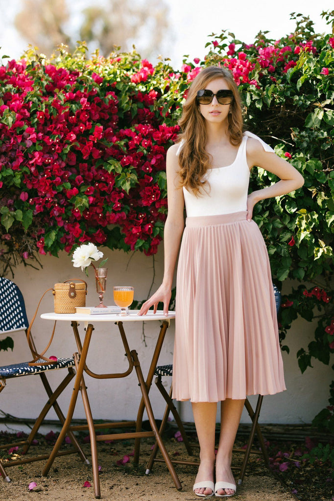 Hayden Pleated Midi Skirt Skirts Aakaa Lt. Blush Small