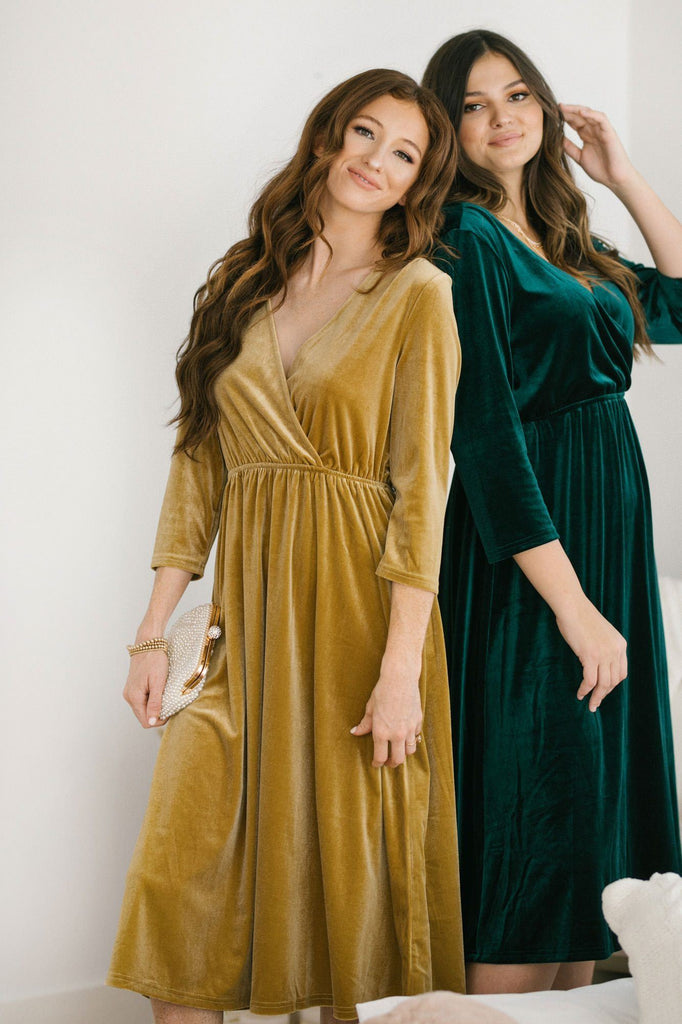 Lucy 3/4 Sleeve Velvet Midi Dress Dresses See and Be Seen