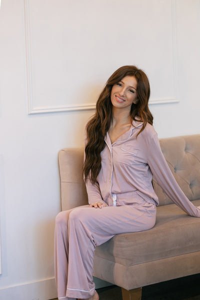 Julie Button Down Pajama Set Loungewear & Intimates She + Sky Misty Pink Small