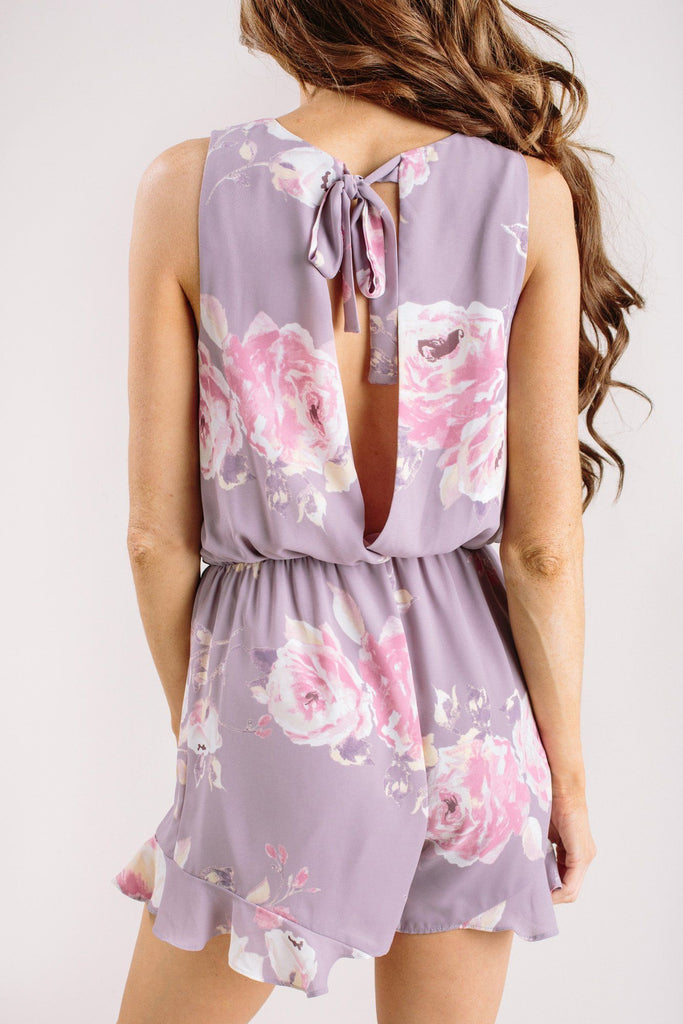 Blaire Lavender Floral Romper Rompers Everly Lavender Medium
