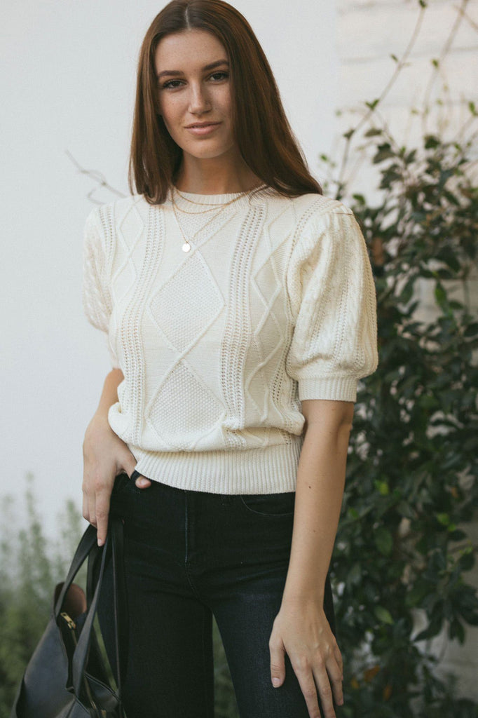 Isabelle Cable Knit Top Tops Cresent Ivory Small