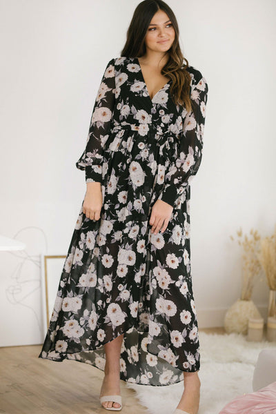 Kenzie Chiffon Floral Maxi Dress Dresses Verte in Mod