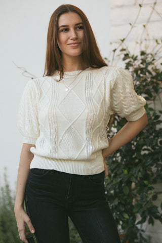 Isabelle Cable Knit Top Tops Cresent