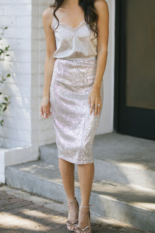 Elena Sequin Midi Skirt-Morning Lavender